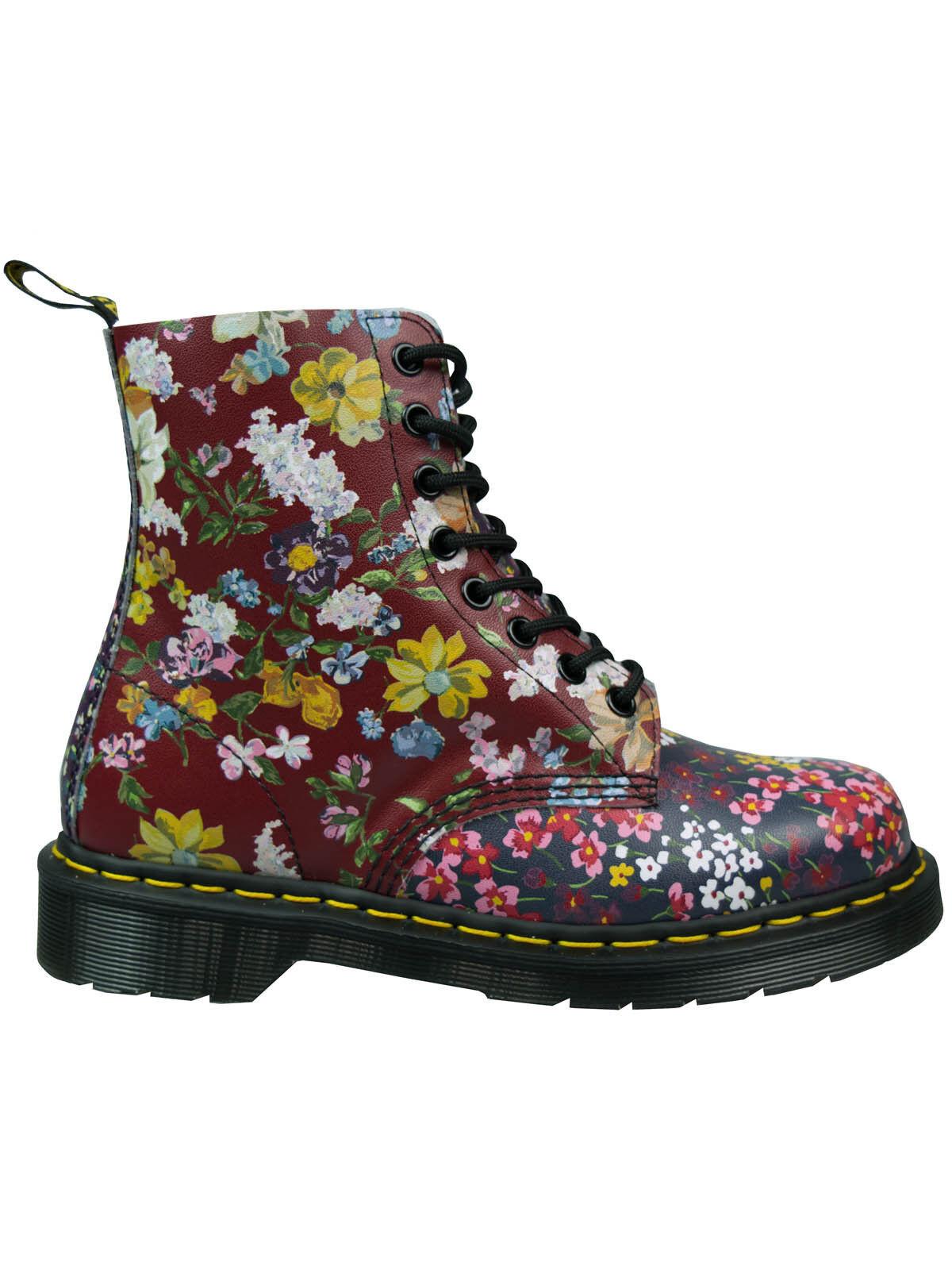 Dr. Martens doc 8 agujeros botas pascal FC Indigo Dark Red flores Flowers