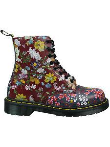 Dr-Martens-Doc-8-loch-Stiefel-Pascal-FC-Indigo-Dark-Red-Blumen-Flowers-5087