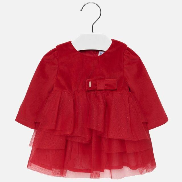 pretty nice 388d2 eef7e vestito vestitino vestina abito tulle velluto rosso sfrangiato neonata  mayoral
