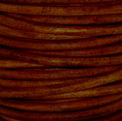 Premium Natural Dye Round Leather Cord  * Natural Turkey Red