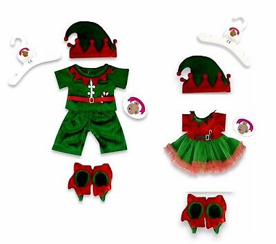Teddy Bears Clothes fits Build a Bear Teddies Christmas Elf Elves Outfit Costume