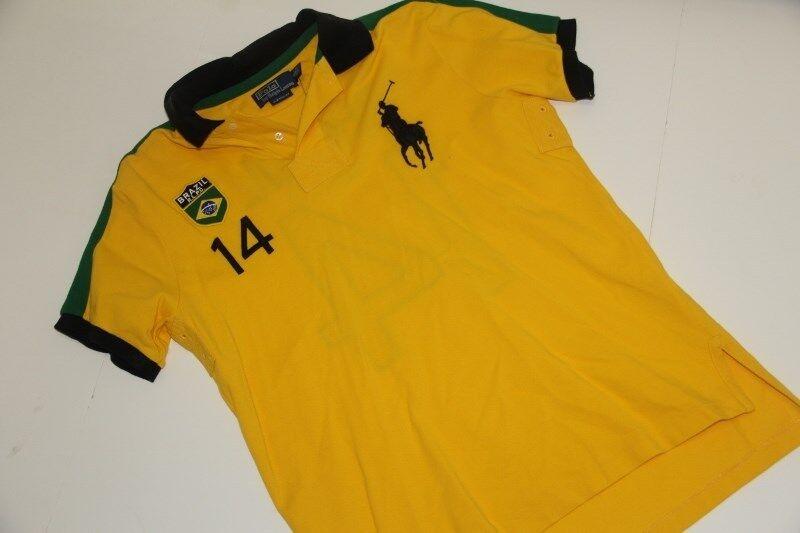 Ralph Lauren Gelb Shirt Brazil Flag Big Pony XL XLarge Custom-Fit