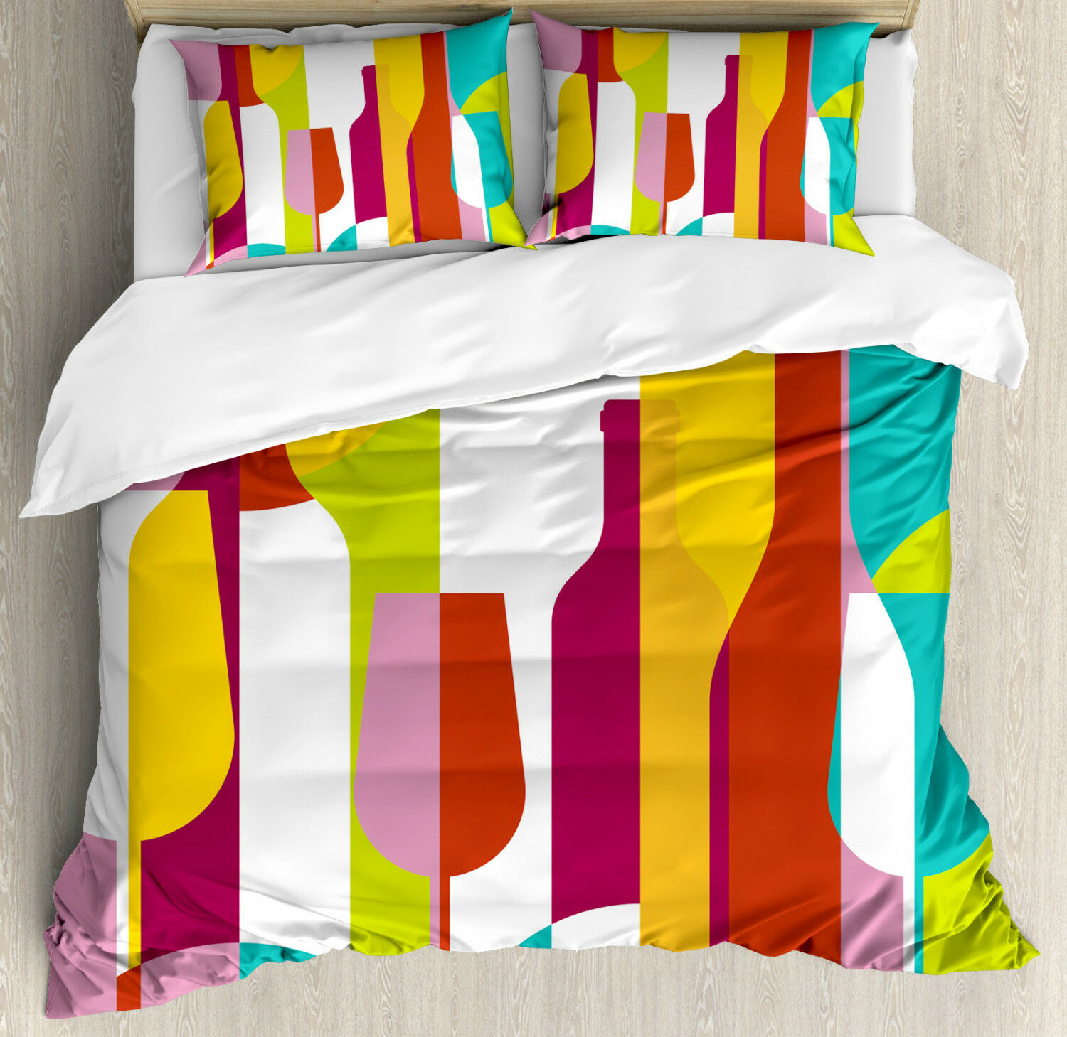 Wine Duvet Cover Set with Pillow Shams Coloreeful Abstract Drinks Print