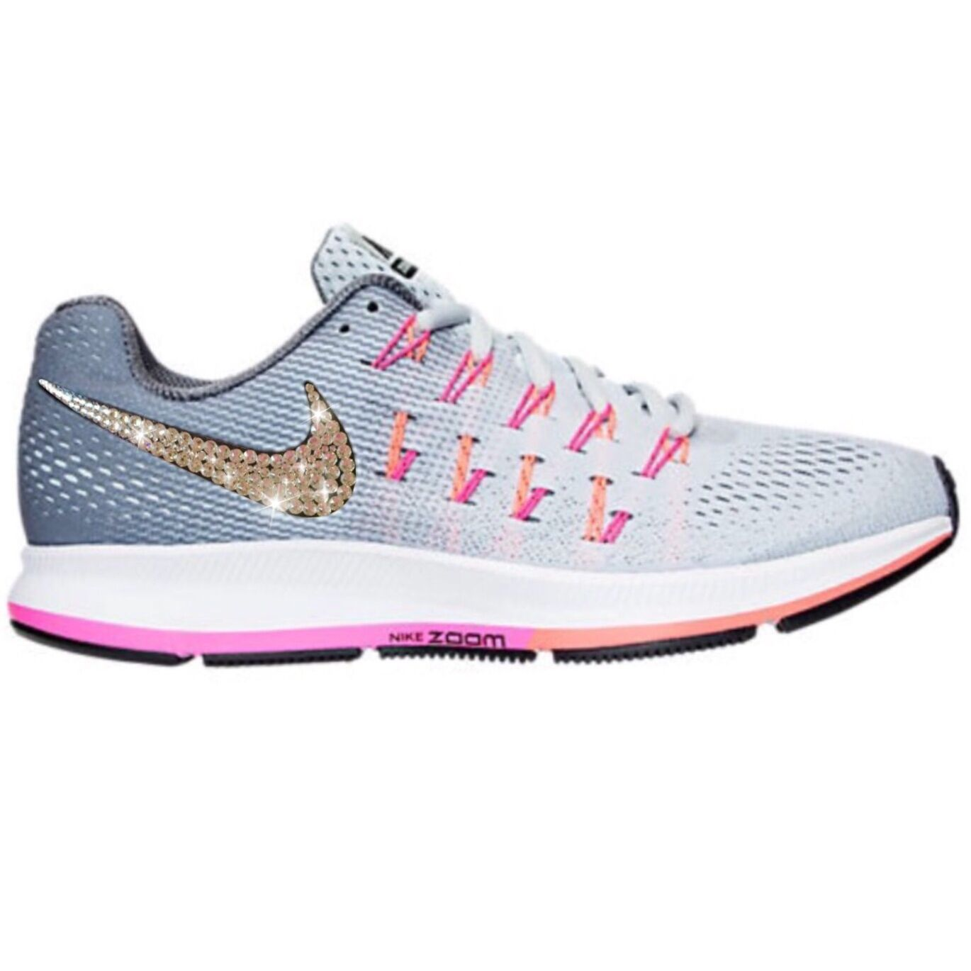 Bling Nike Air Zoom Pegasus 33 shoes w  Swarovski Crystal  Grey Pink