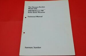 Details about Original Service Manual: Harman Kardon Model 630 Receiver  (English Language)!