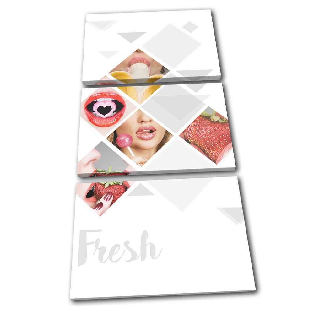 Geometric Kiss Lips Erossoic Food Kitchen TREBLE TELA parete arte arte arte foto stampa 92f0ee