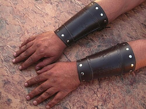 HAND MADE BROWN REAL Leather Armor Pointed Top Bracers Medieval Halloween CUFF