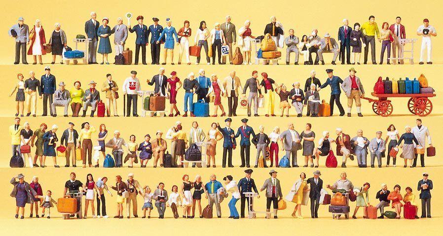 Preiser PERSONAGGI h0 (13000): SUPER-Set con 100 personaggi; i viaggiatori, passanti ecc.