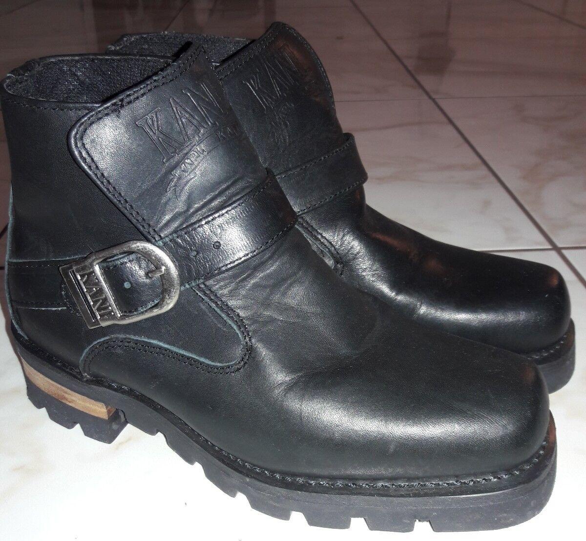 f7762947dd88 Karl Karl Karl Kani black leather motorcycle boots