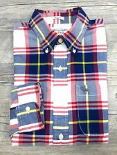 NWT Abercrombie & Fitch Men's Navy Red Plaid Flannel Muscle Fit Shirt Size M