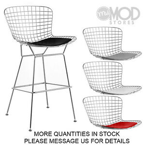 Wire Barstool With Seat Pad Wireback Bar Stool Modern Mid