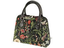 Signare Tapestry Handbag Shoulder Convertible Bag In Morning Garden Black Design