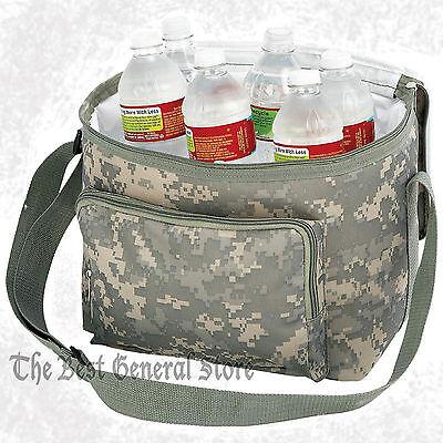 "11"" Army Digital Camo Water-Resistant Cooler Bag Rear Mesh Pocket Camping Zipper"
