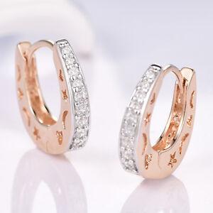 669faa1e5 Moon & Stars U-Shape Huggie 18K Silver & Gold Filled Women Wedding ...