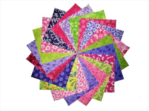 """40 4/"""" Quilting Fabric Squares PURPLE /& PINKS/&GRENS-20 DIFFERENT-2 OF EACH"""