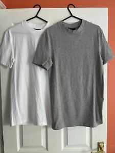ASOS DESIGN 2 pack organic t-shirt with crew neck 1x Grey 1x White, Size S, New