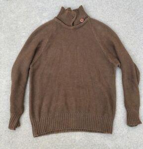 Unbranded Mens Vintage Heavy Knit Winter Brown Turtleneck Sweater