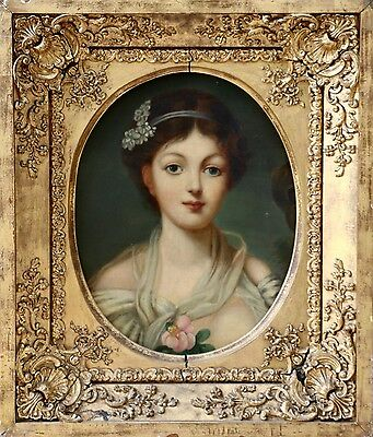 EARLY 19th CENTURY FRENCH ROMANTIC OIL PORTRAIT OF YOUNG GIRL - HUGE ORIG. FRAME