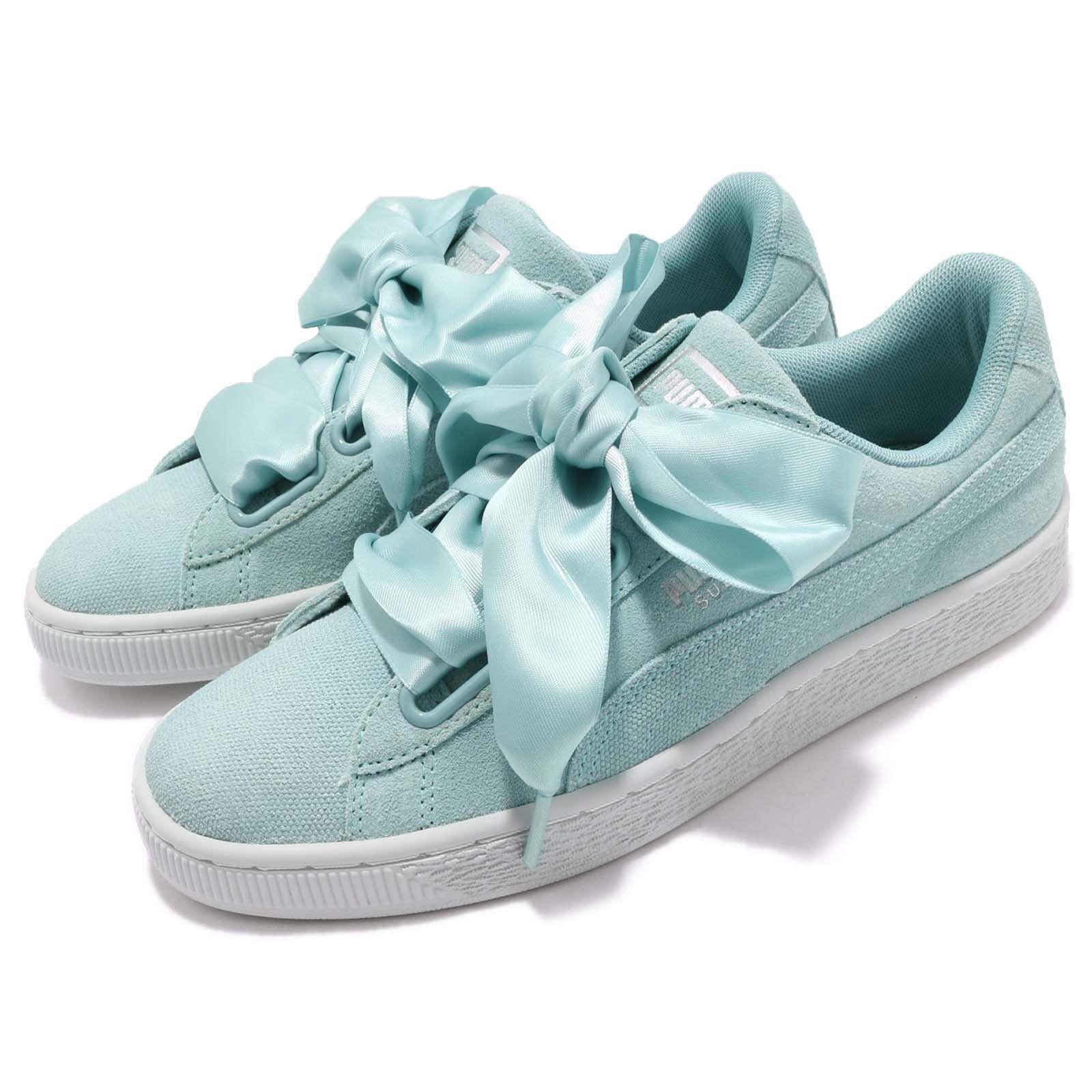 Puma Suede Heart Pebble Wns Bow Aquifer Blue Flower Donna Shoes  36521003