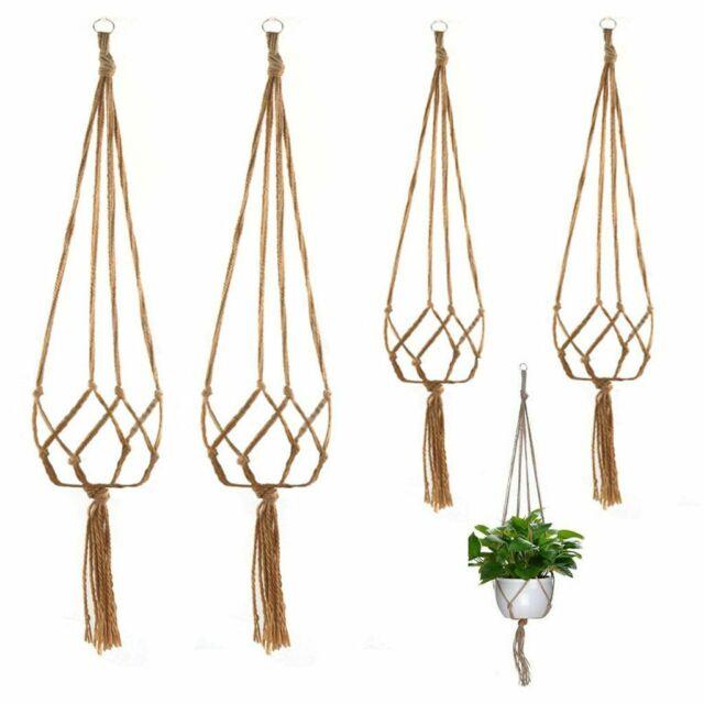 Indoor Outdoor Hanging Planter Basket Home Decor,4pack Macrame Plant Hanger,Handmade Cotton Rope