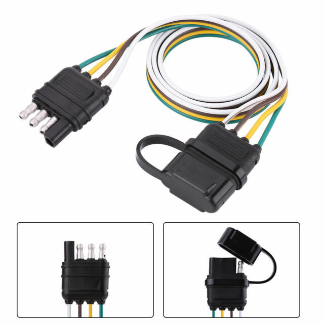 Trailer Wiring Harness Extension 4-pin Plug Flat Wire Connector Adapter on