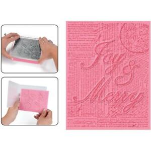 Sizzix Textured Impressions A2 Embossing Folder & Stamp Set Joy & Merry, NEW