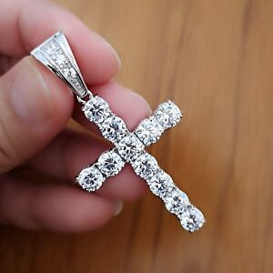 938eb2f6ce5f 10Ct Diamond Cross Pendant Necklace with Chain 14K White Gold over ...