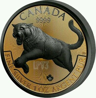2016 1 Oz Silver COUGAR Coin, Golden Enigma Black Ruthenium And 24k Gold Gilded.
