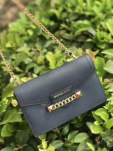 0e93c98884 Details about NWT Michael Kors Karla Wristlet Chain Saffiano Leather XS  Crossbody Bag NAVY