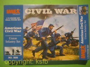 1-72-Imex-505-US-Buergerkrieg-ACW-Nordstaaten-Infanterie-Union-Soldaten-Figuren