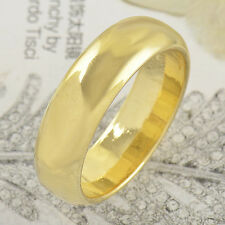 Fashion womens couple Yellow Gold Filled  Smooth promise love Ring Size 8