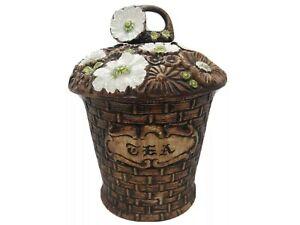 Vintage-Treasure-Craft-Tea-Jar-Brown-Basket-White-Flowers