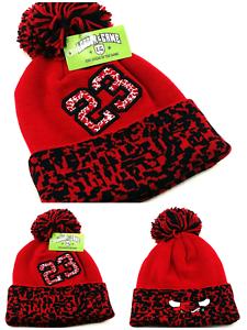 c541fff0b098 Chicago New Leader 23 Jordan Bulls Red Black Toque Cuff Pom Beanie ...