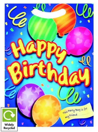 6 BIRTHDAY PARTY BAGS ~ RECYCLABLE LOOT CELLO TREAT CANDY FAVOUR GOODY BAG