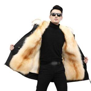 Herren Kapuze Faux Nerz Pelz Futter Outwear Parka Jacke Winter Warm Casual Neu L