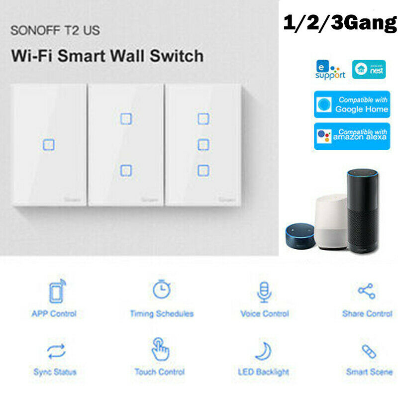 Sonoff TX US 1/2/3 Gang T2 Smart Touch Light Switch WiFi RF