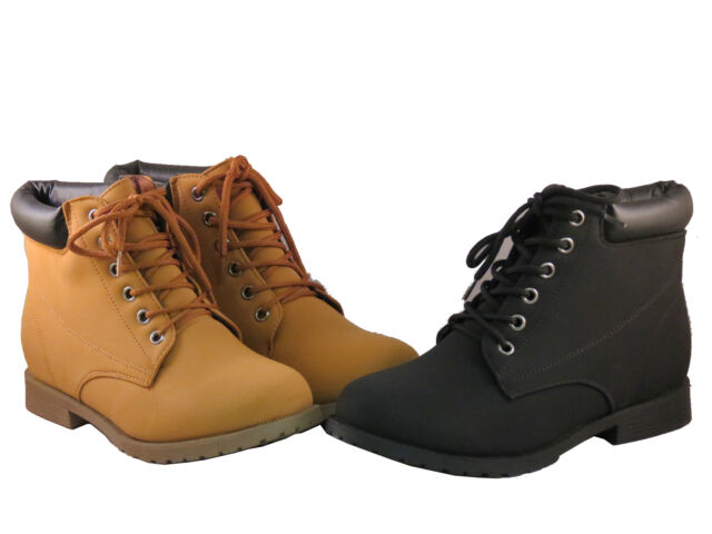 New Women Ankle Work Boots  Faux Suede Lace Up Combat Army Booties JL988