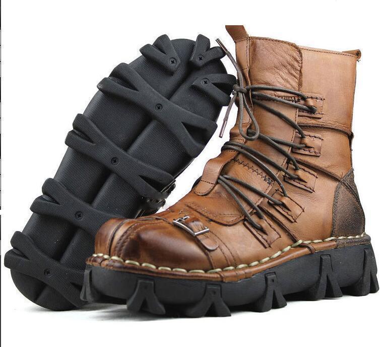 Para hombres Cuero Genuino De Combate botas al Tobillo Zapatos informales Militar Con Cordones Motor
