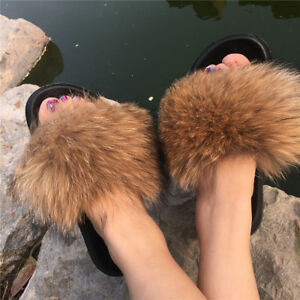 71a90c3515124 Details about Real Natural Raccoon Fox Fur Slides Shoes Slippers Sandals  Shoes - Brown