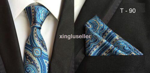 30 Pattern Mens Silk ties /& Handkerchief Pocket Square SET Italy Paisley Wedding