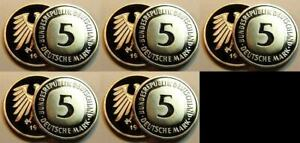 5 DM Currency Coin 1997ADFGJ 5 Piece Complete Proof ( Pf, Proof)