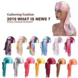 Unisex-Men-Women-Silk-Polyester-Bandana-Hat-Durag-Rag-Tail-Headwrap-Headwear