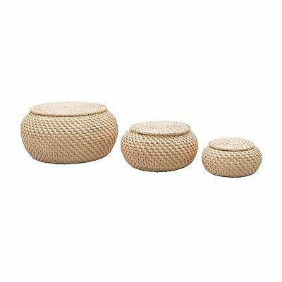 3 X IKEA FRYKEN STORAGE BOX WITH LID- RATTAN HANDMADE- IDEAL FOR SMALL STORAGE