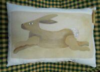 Handpainted Prim Herr Rabbit Shelfsitter Pillow, Folk Art, Bunny, Hare, Country