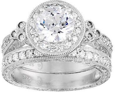 Platinum Sterling Silver Swarovski Zirconia CZ Wedding Engagement Ring Band Set