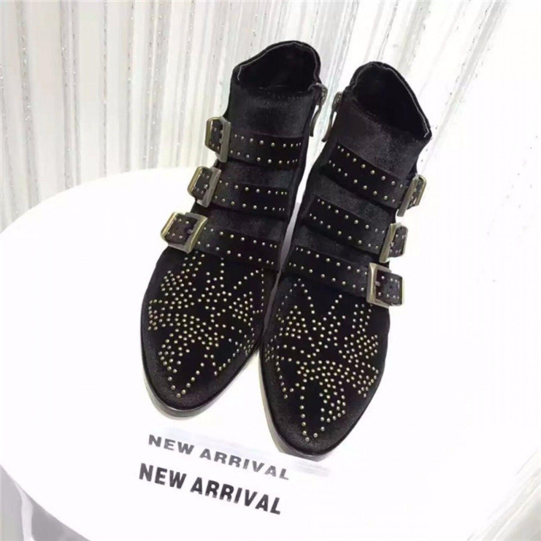 BTO19 damen Autumn Winter Leather Velvet Ankle Stiefel Buckles Rivets Studded