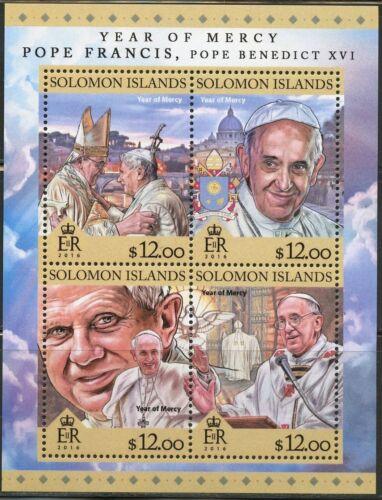 SOLOMON ISLANDS 2016 YEAR OF MERCY POPES BENEDICT XVI & FRANCIS SHEET MINT NH