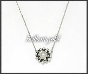 Diamant-amp-Perlen-Collier-0-70ct-Lupenreine-amp-River-Brillanten-aus-585-Gold
