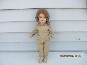 "Vintage 16.5"" Composition Doll Wartime Girl Light Brown Hair & Blue Sleep Eyes"