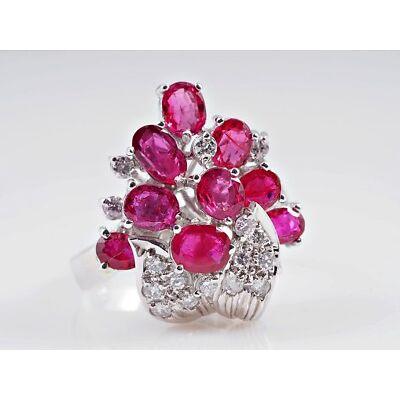 vintage Ring 0,50 Karat Brillanten 2,50 Karat pink Saphire 750 Gold 18 Karat